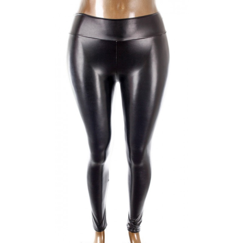 New Look Legging Zwart Leather Look Special Lady Size 3xl